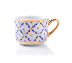 porcelain tea cup on white background