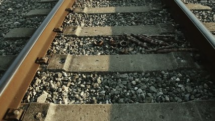 Railroad tracks at daylight