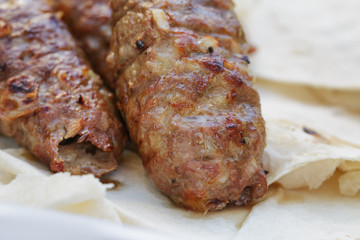 traditional shish kebab from lamb meat