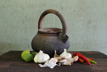 old kettle and vegetable