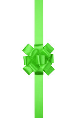 green vertical big present or award bow with ribbon