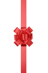 red vertical big present or award bow with ribbon