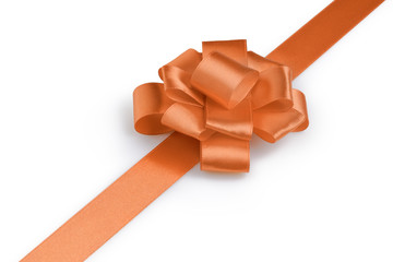 orange ribbon bow angle photo