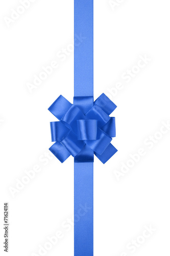 canvas print picture blue vertical big present or award bow with ribbon