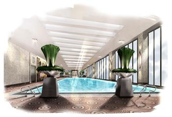 sketch perspective interior,rendering perspective pool