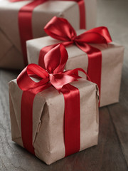 vintage style gifts tied with ribbon and bow