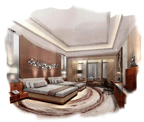 rendering painting interior,rendering bed room