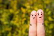 Finger art of a Happy couple. A man and a woman hug - 71624720