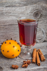 Hot wine for winter and Christmas with spices