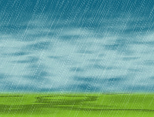 rain storm backgrounds in cloudy weather with green grass