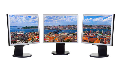 Istanbul Turkey panorama in computer screens