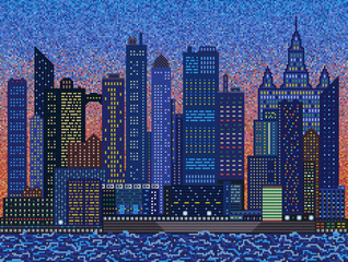 Abstract city on sunset - mosaic