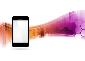 Technology bright waves abstract background with mobile phone