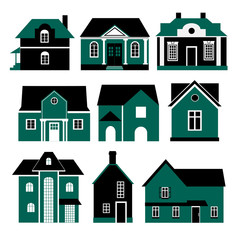 set of two colors vector buildings