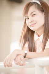 A shot of a beautiful asian woman outdoor