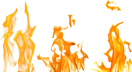 three orange fires on white illustration