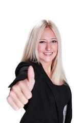 Junge hübsche blonde Frau zeigt Daumen hoch