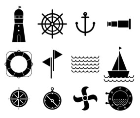 Vector of Black Nautical and marine icons