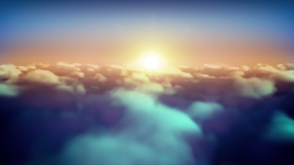 sunset Flying Over Clouds