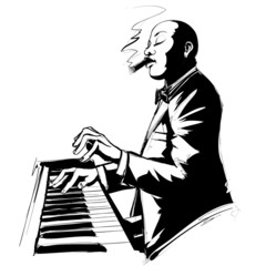 Jazz pianist in black and white