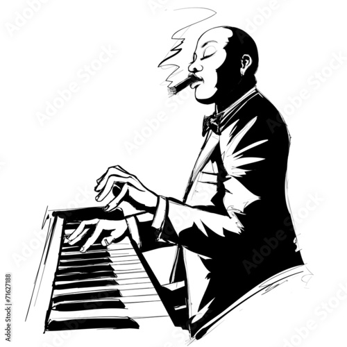Jazz pianist in black and white © Isaxar