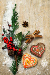 Christmas decorations and gingerbreads