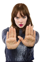 stylish woman refusing or saying no with hand gesture