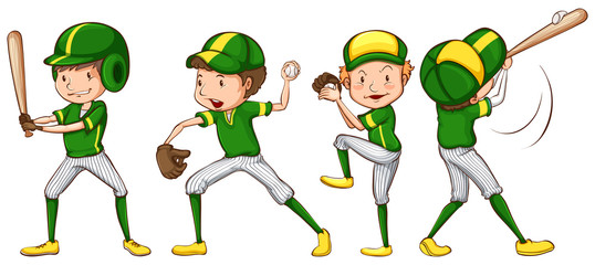 A coloured sketch of the baseball players in green uniform