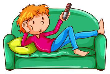 A coloured sketch of a lazy boy