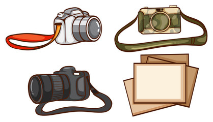 Simple sketches of the cameras of a photographer