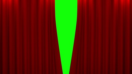 red curtain with green screen opening scene