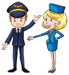 A simple drawing of a pilot and a stewardess