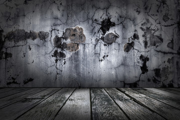 wood floor and grunge concrete wall textured backgrounds