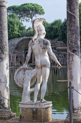 Statue of warrior at Hadrian's villa -  Tivoli, Rome Italy