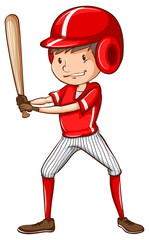 A sketch of a baseball player holding a bat