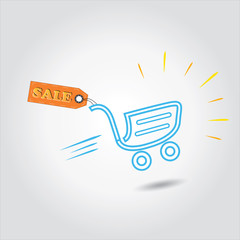 sale tag with shopping cart is concept of vector discount,sale