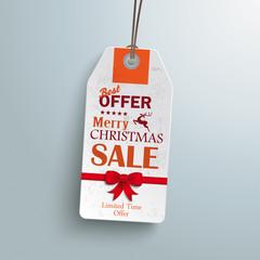 White Price Sticker Christmas Red Ribbon