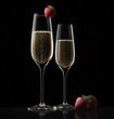 Champagnerglas und Erdbeere