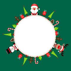 Round Frame Santa, Rudolph & Snowman Symbols Green