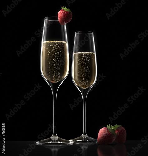 canvas print picture Champagnerglas und Erdbeere