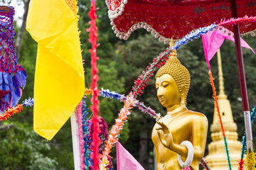 golden buddha image parade in festival