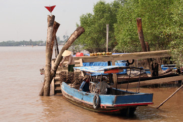 Разгрузка фруктов на причале реки Меконг