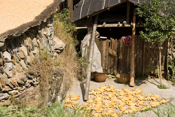 Old, dilapidated hut villager.