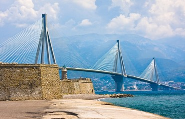 Suspension bridge crossing Corinth Gulf strait, Greece