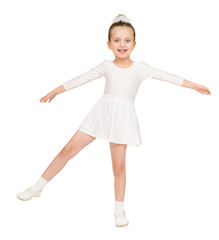 little girl dancing in a white ball gown