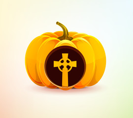 Halloween pumpkin with a carved grave cross