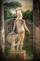 Vintage statue of warrior at hadrians villa -  Tivoli, Italy