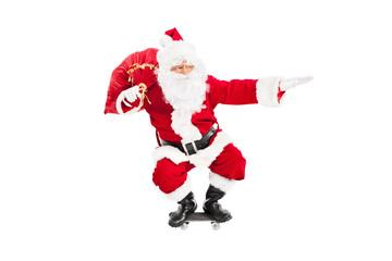 Santa riding a skateboard