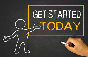 get started today and small people on chalkboard
