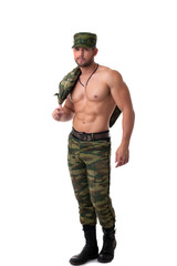 Sexy half-dressed soldier posing at camera